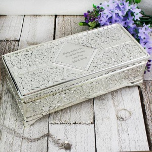 Personalised Antique Style Silver Plated Jewellery Box