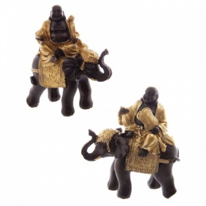 Gold & Brown Laughing Buddha & Elephant - Set of 2