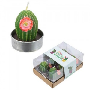Spiky Cactus with Flower - Set of 6 Tea Lights
