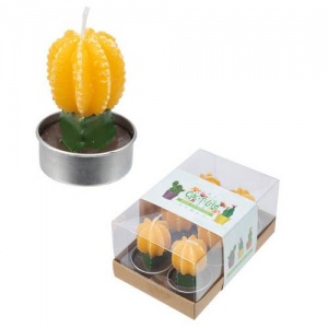 Cactus with Yellow Flower - Set of 6 Tea Lights