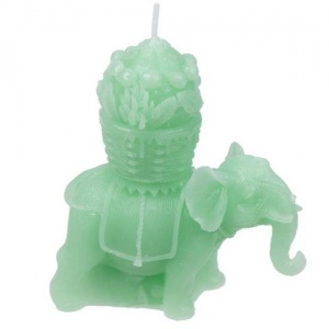 Fun Mini Candles - Lucky Green Elephant Design