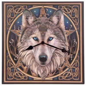 Picture Clock - Celtic Wolf Head by Lisa Parker