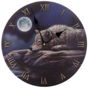 Round Clock - Quiet Night of the Wolf by Lisa Parker