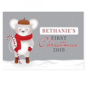 Personalised 1st Christmas Card - Mouse