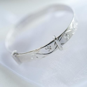Sterling Silver Baby Bangle with personalised gift box