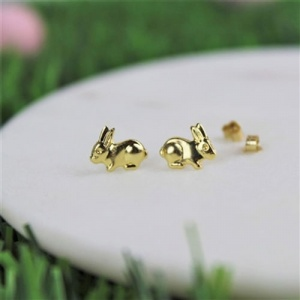 Gold Bunny Earrings with Personalised Gift Box
