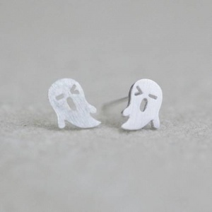 Silver Ghost Halloween Earrings