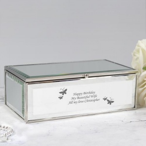 Personalised Mirrored Jewellery Box - Butterflies