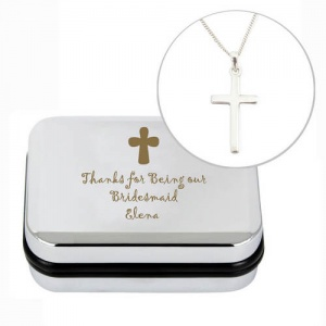 Necklace & Personalised Box - Cross