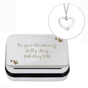 Necklace & Personalised Box - Butterfly & Heart