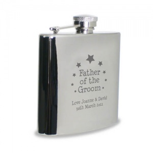 Stars Father of Groom Hipflask