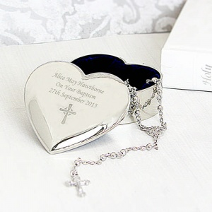 Rosary Beads and Cross with Personalised Heart Trinket