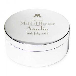 Decorative Wedding Maid of Honour Round Trinket Box