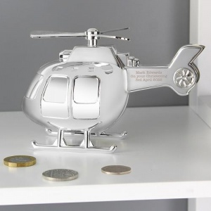 Silver Plated Money Box - Helicopter