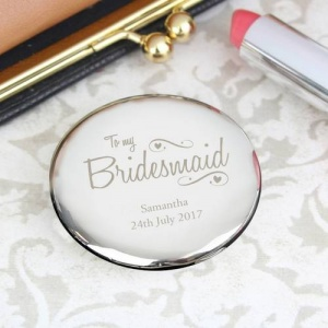 Personalised Compact Mirror - Bridesmaid Swirls & Hearts