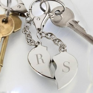 Personalised Keyring - Initials Two Hearts