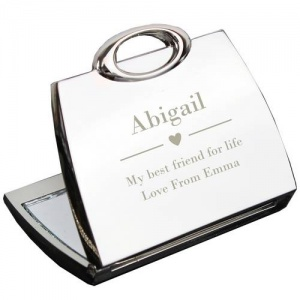 Personalised Handbag Compact Mirror - Decorative Heart