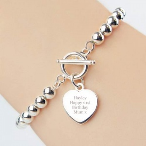 Personalised Silver Plated Heart T-Bar Bracelet