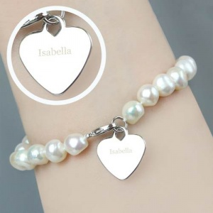 Personalised White Freshwater Pearl Bracelet - Name
