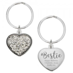 Personalised Diamante Heart Keyring -  #Bestie