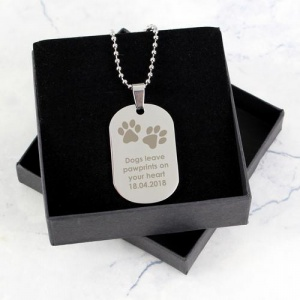 Personalised Stainless Steel Dog Tag Necklace - Pawprints