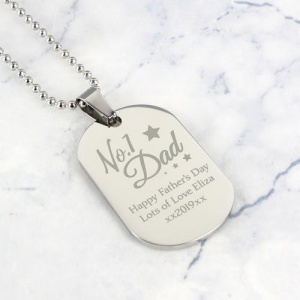 Personalised Stainless Steel Dog Tag Necklace - No.1 Daddy/Dad