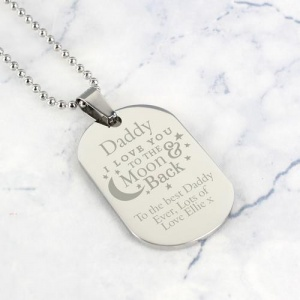 Personalised Stainless Steel Dog Tag Necklace - To The Moon & Back...