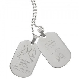 Personalised Stainless Steel Double Dog Tag Necklace - Guardian Angel