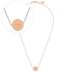 Personalised Rose Gold Tone Disc Necklace - Name