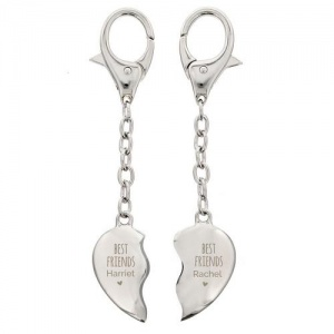 Personalised Two Hearts Keyring - Best Friends