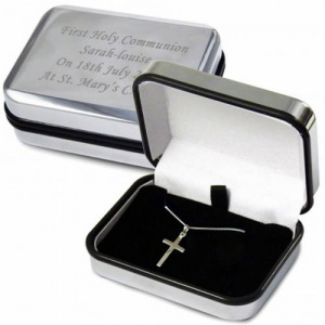 Silver Cross Necklace with Personalised Box
