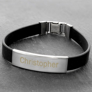 Personalised Stainless Steel Black Bracelet