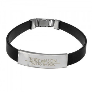 Personalised Classic Stainless Steel Black Bracelet