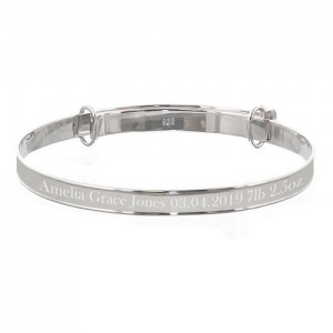 Personalised Sterling Silver Childs Expanding Diamante Star Bracelet