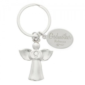 Personalised Silver Plated Godmother Keyring - Swirls & Hearts Angel