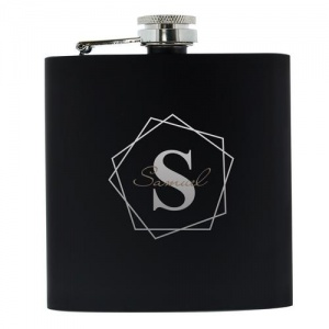 Personalised Black Hip Flask - Geometric Initial