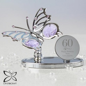 Personalised Crystocraft Butterfly - Swirls & Hearts Birthday