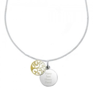 Personalised Silver & 9ct Gold Plate Family Tree Necklace