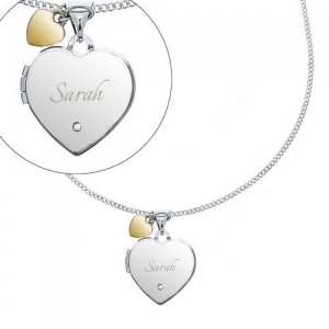 Personalised Silver Heart Locket with Diamond & Charm