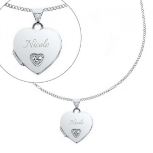 Personalised Children's Sterling Silver & Cubic Zirconia Heart Locket Necklace - Name