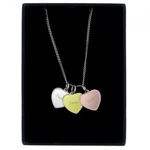 Personalised Gold, Rose Gold & Silver 3 Hearts Necklace