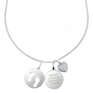 Personalised Silver Footprints & Zirconia Heart Necklace