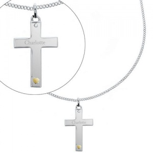 Personalised Sterling Silver Cross with Gold Heart & CZ Necklace