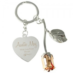 Personalised Silver Plated Rose Gold Rose Keyring - Swirls & Hearts