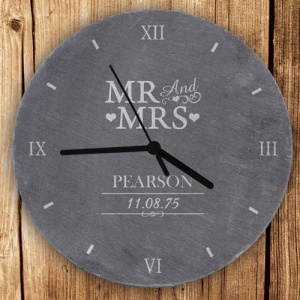 Personalised Natural Slate Clock - Mr & Mrs