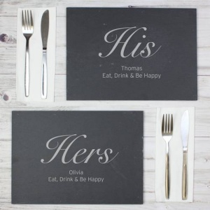 Personalised Slate Placemat Set - His & Hers