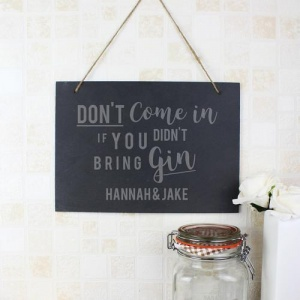 Personalised Large Hanging Slate Sign - Gin
