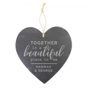 Personalised Large Slate Heart Decoration - Together