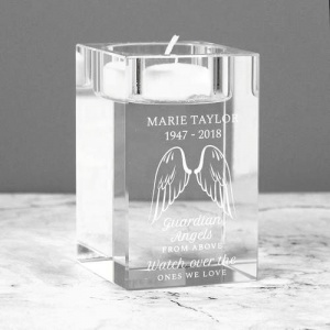 Personalised Glass Tea Light Holder - Guardian Angel Wings