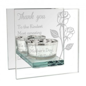 Personalised Mirrored Glass Tea Light Holder - Rose